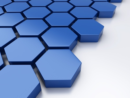 geometrical shapes: Abstract blue metallic background with hexagons and place