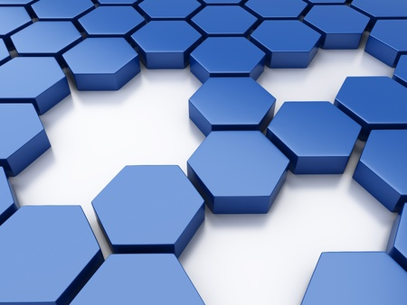 hexagon: Abstract blue metallic background with hexagons and holes