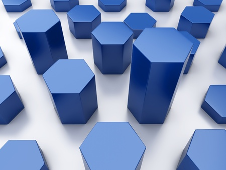 blue metallic background: Abstract blue metallic background with statistic hexagons Stock Photo