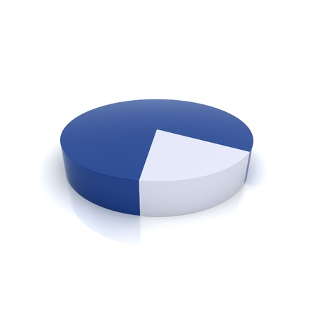 fragment: Illustration of metallic pie chart (blue collection) Stock Photo