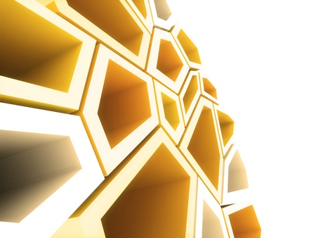 Geometrical background with orange and white shapes photo