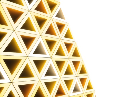 Geometrical background with orange and white triangles photo