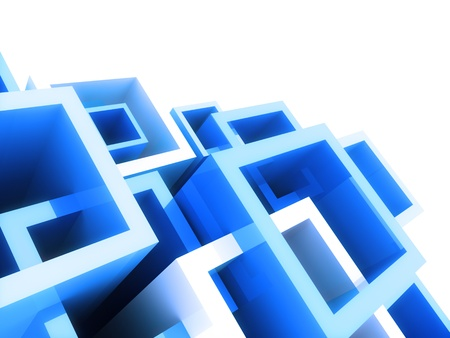 Abstract geometrical background with blue crossed frames Stock Photo