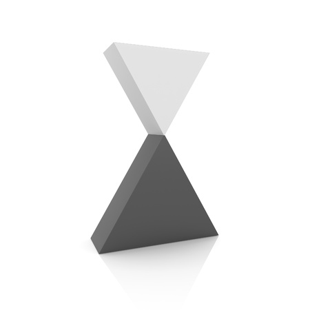 3d triangle: Concept of perfect balance with two triangles(black collection) Stock Photo