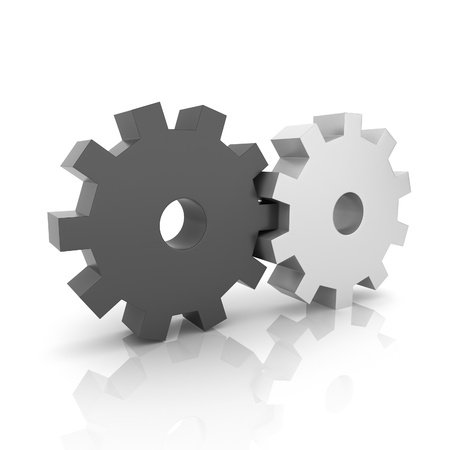 uniting: Illustration with black and metallic gears teamwork concept (black collection) Stock Photo