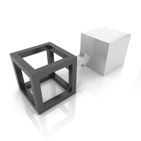 conversion: Illustration with two cubes transformation concept (black collection)