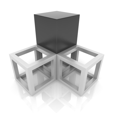 synergism: Illustration with cubes union concept (black collection)