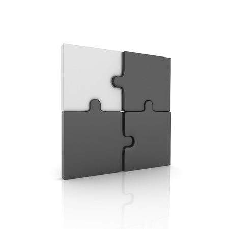 group solution: Illustration with puzzle elements and key puzzle (black collection) Stock Photo