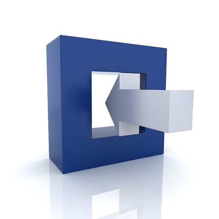 input: Concept of input connection with frame and arrow(blue collection) Stock Photo
