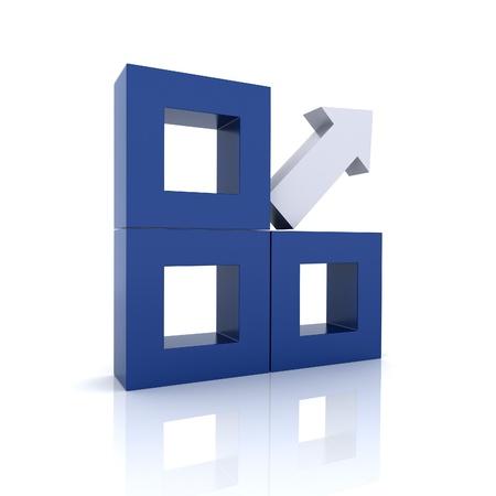 synergy: Concept of unique element arrow(blue collection)