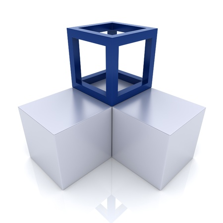 synergism: Illustration with cubes union concept (blue collection) Stock Photo