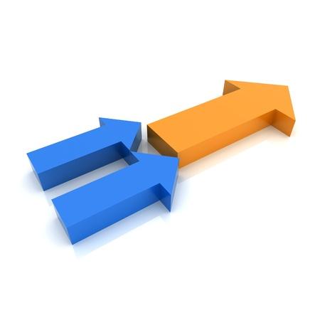 sinergia: Concepto de transformaci�n con s�mbolos met�licos flecha (colecci�n de color)