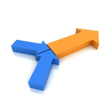 sinergia: Concepto de transformación con símbolos de flecha metálico (colección de color) Foto de archivo