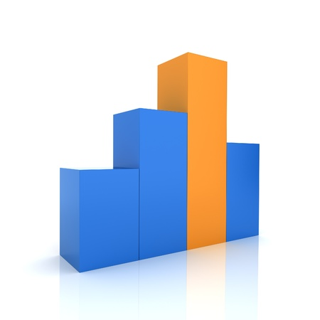 maximum: Illustration of chart with blue and orange bars (color collection)