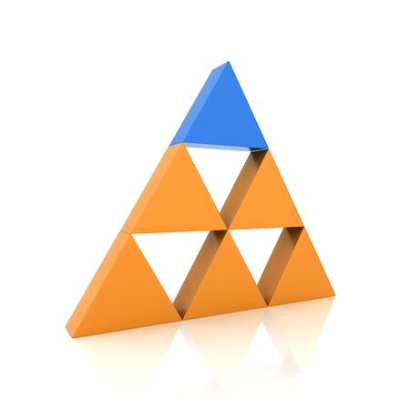 Concept of leadership with orange and blue triangles (color collection)