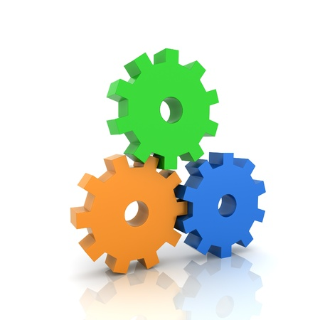 uniting: Illustration with three gears teamwork concept (color collection) Stock Photo