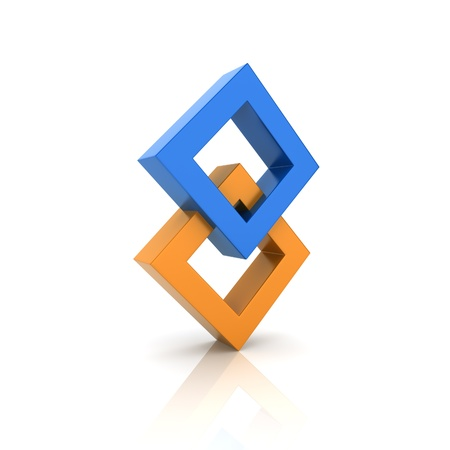 synergy: Concept of unity with two rhombs (color collection)