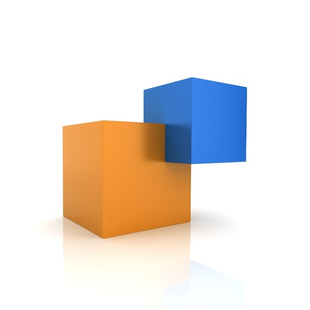 synergism: Concept of unity with two cubes (color collection)