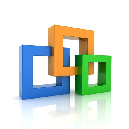 synergy: Concept of unity with 3 frames (color collection) Stock Photo