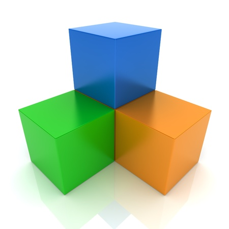 synergism: Illustration with cubes union concept (color collection)