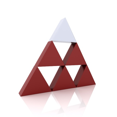 Concept of leadership with silver and red triangles (red collection) photo