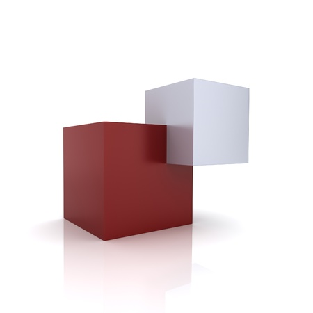 synergism: Concept of unity with two cubes (red collection)