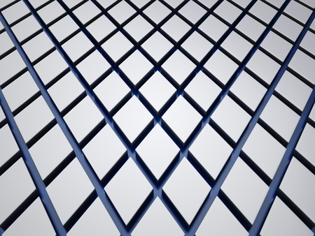 Reflective background with metallic rhombs and blue lines photo