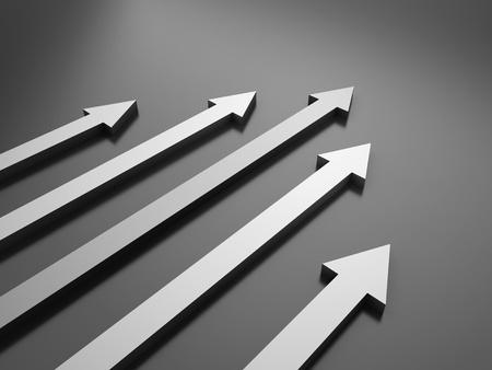 advantages: Black background with 5 arrows (success concept) Stock Photo