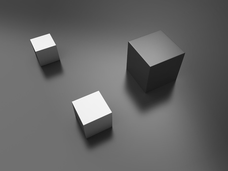 Illustration with black cube and two metallic cubes(concept of uniqueness) illustration