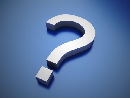 punctuation mark: Illustration of metallic question symbol on blue background Stock Photo