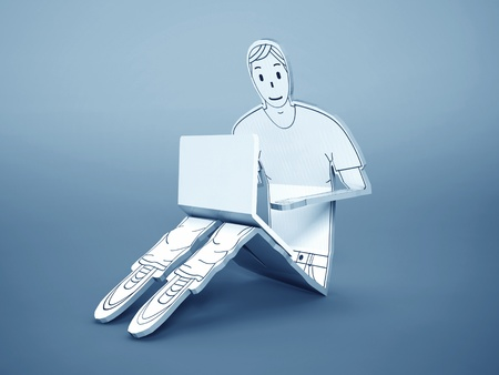 freelancer: Carton sketch 3d man with notebook (concept of chatting)