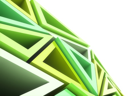 Abstract geometrical background with green triangles and copyspace