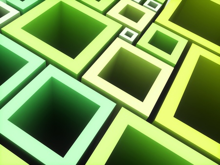 Abstract geometrical background with green frames photo