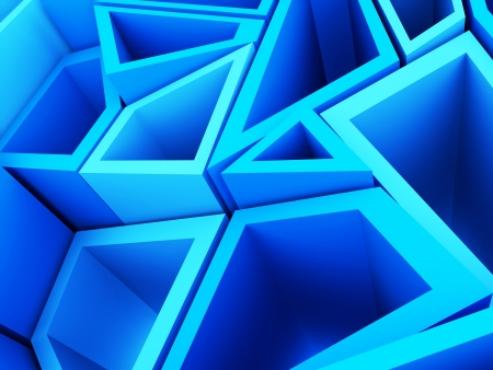 Blue abstract background with lot of geometrical elements photo