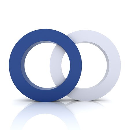 synergism: Blue metallic symbol with two circles (concept of union) Stock Photo