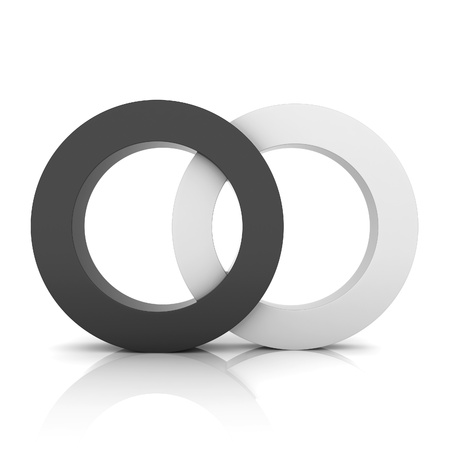 synergy: Black metallic symbol with two circles (concept of union)