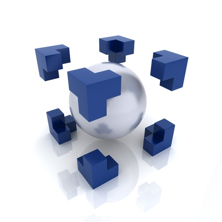 goal cage: Metallic symbol with sphere inside cube (main element)