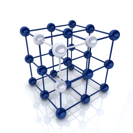 construction firm: Blue metallic symbol with cube frame molecule (cube frame) Stock Photo