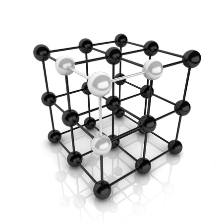 main idea: Metallic symbol with cube frame molecule (cube frame)
