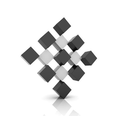 rhomb: Metallic symbol rhomb from different metallic cubes Stock Photo