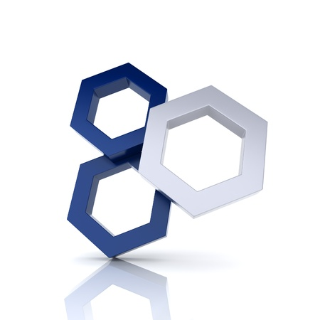 synergism: Illustration with frame three hexagons (uniqueness concept) Stock Photo