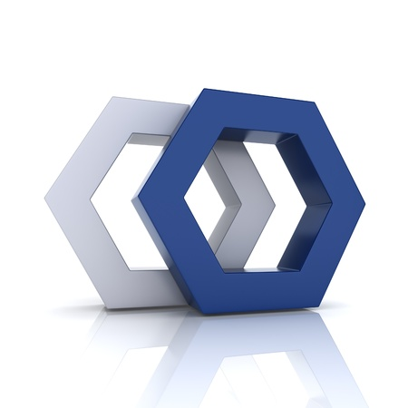 hexagon: Illustration with union of blue frame hexagons (union concept) Stock Photo