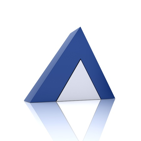 synergism: Illustration with union of blue pyramids (union concept) Stock Photo