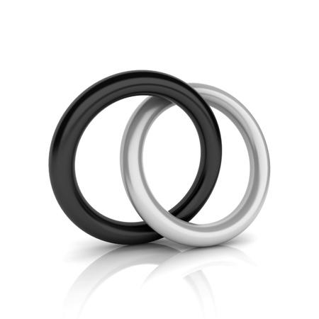 synergy: Union of metallic and black circles (union concept) Stock Photo