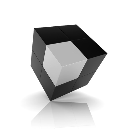 synergy: Ilustraci�n con el elemento singular cubo (el concepto de unicidad)