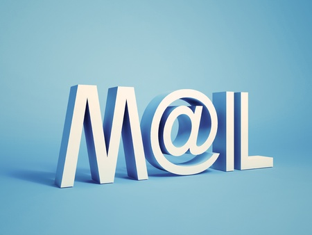 e alphabet: Illustration of concept with word mail on background