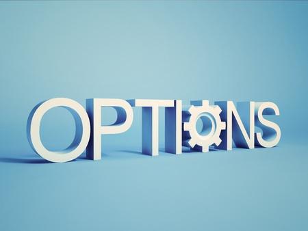 Illustratie van concept met Opties voor Word op de achtergrond