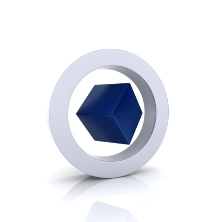 perfection: Illustration with metallic circle and cube inside