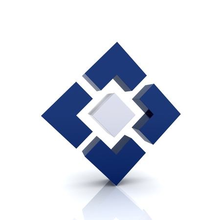 Illustration with 4 blue elements  achievement symbol  Stock Illustration - 13000345