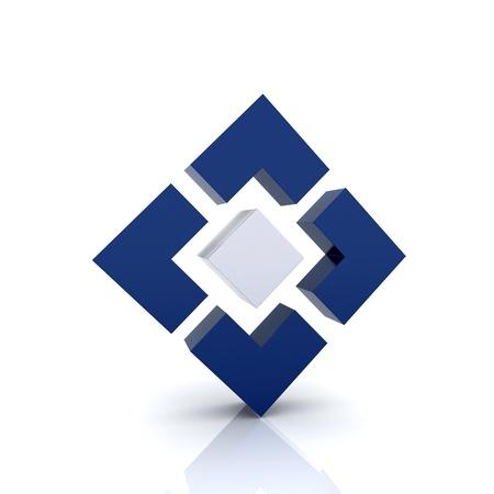 Illustration with 4 blue elements  achievement symbol  Stock Photo